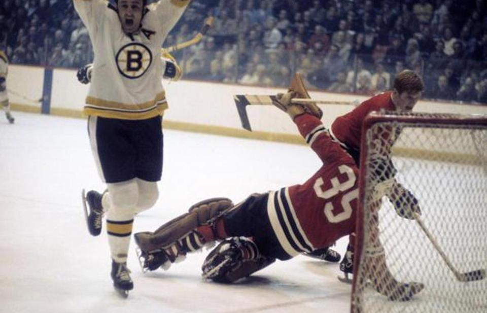 e1f80a546ac Bruin Phil Esposito cheered after scoring a goal against Chicago Blackhawks  goalie Tony Esposito in a